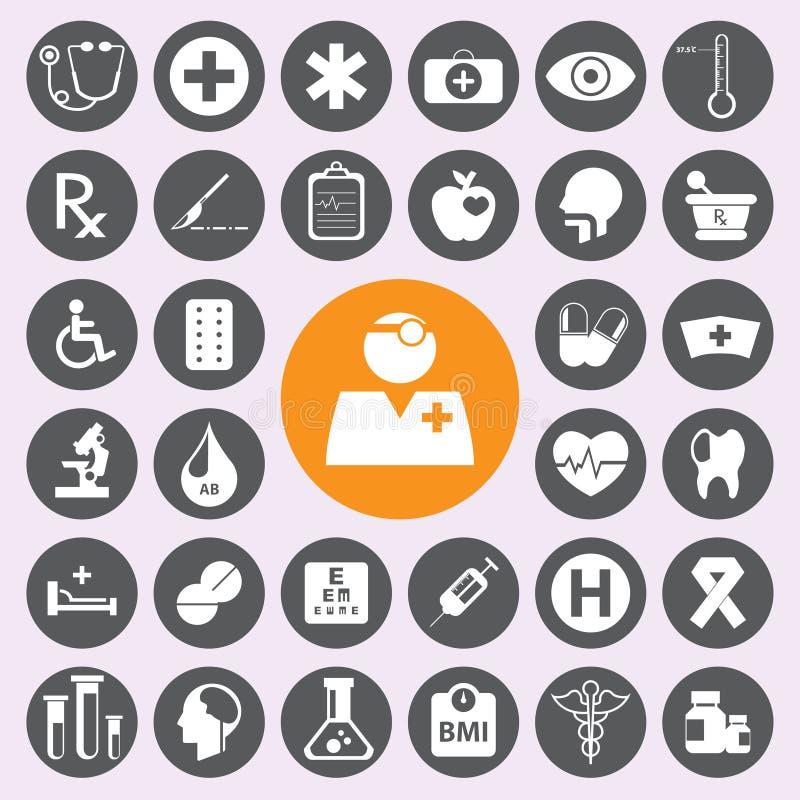 Płaskie medyczne ikony ustawiać Vector/EPS10 ilustracja wektor