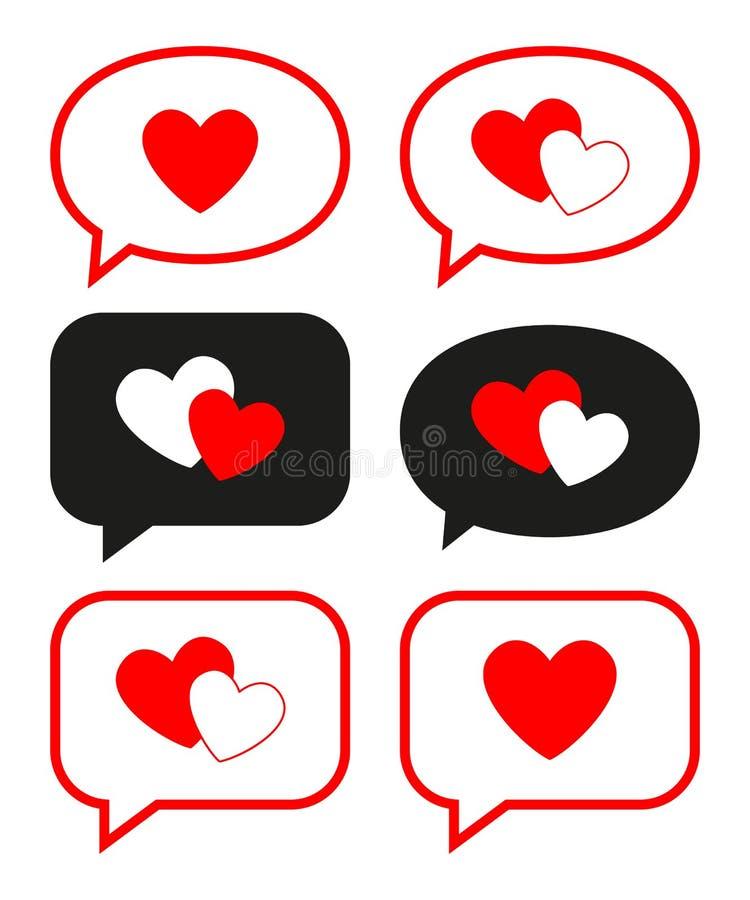 Płaskie miłość wiadomości ustawiać ilustracji