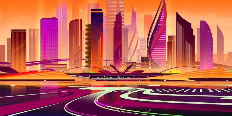 Płaskie miasteczko przyszłości z postaci słońca zdjęcie stock