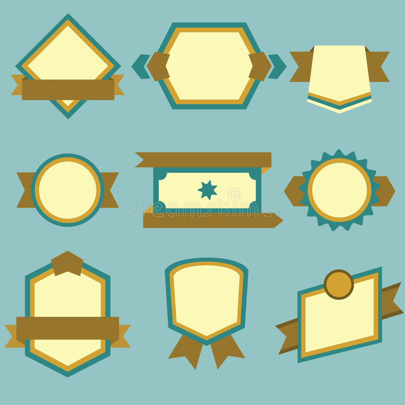 Płaskie nowożytne etykietki i faborki ustawiający na błękitnym tle ilustracja wektor