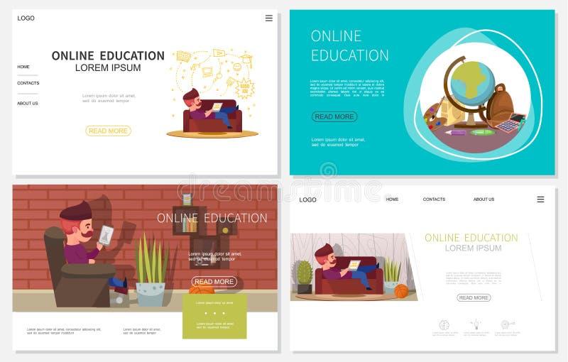 Płaskie Online edukacj strony internetowe Ustawiać royalty ilustracja