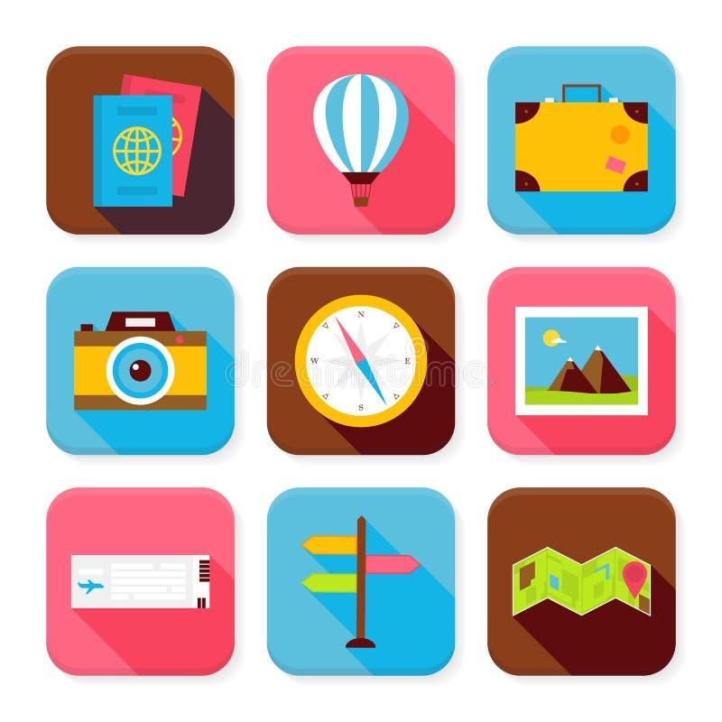 Płaskie podróży i wakacje App Ciosowe ikony Ustawiać royalty ilustracja