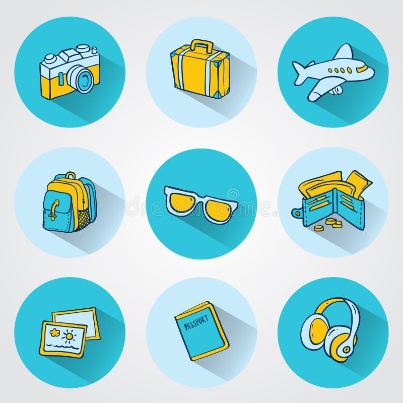 Płaskie podróży ikony dla sieci i wiszącej ozdoby zastosowań ilustracja wektor