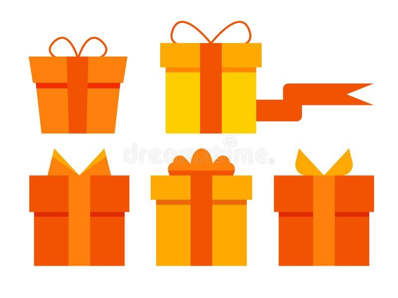 Płaskie prezenta pudełka ikony ustawiać Set pomarańczowi prezentów pudełka ilustracja wektor