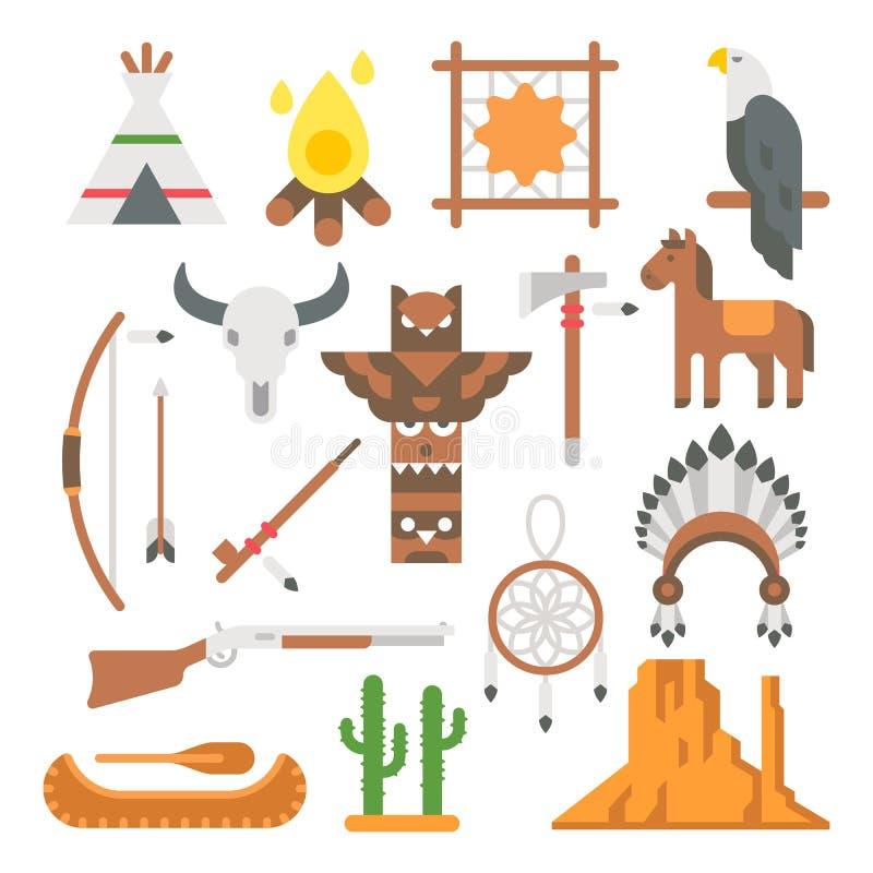 Płaskie projektów rodowitych amerykan rzeczy ustawiać royalty ilustracja