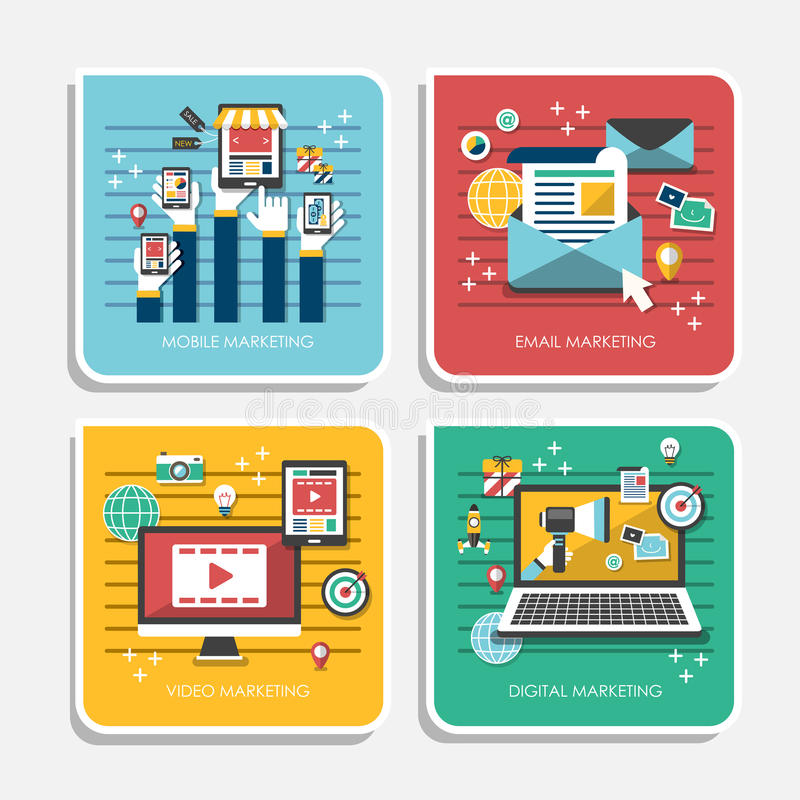 Płaskie projekt ikony dla marketingowych pojęć ilustracji
