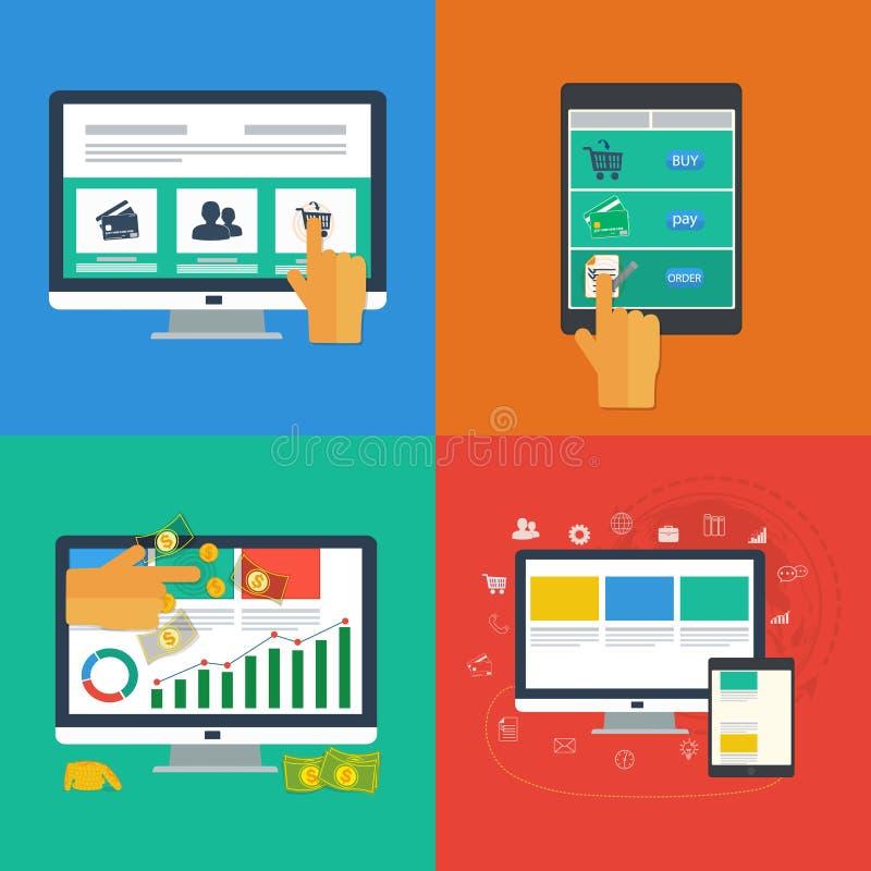 Płaskie projekt ikony dla sieci i wiszącej ozdoby apps. ilustracja wektor