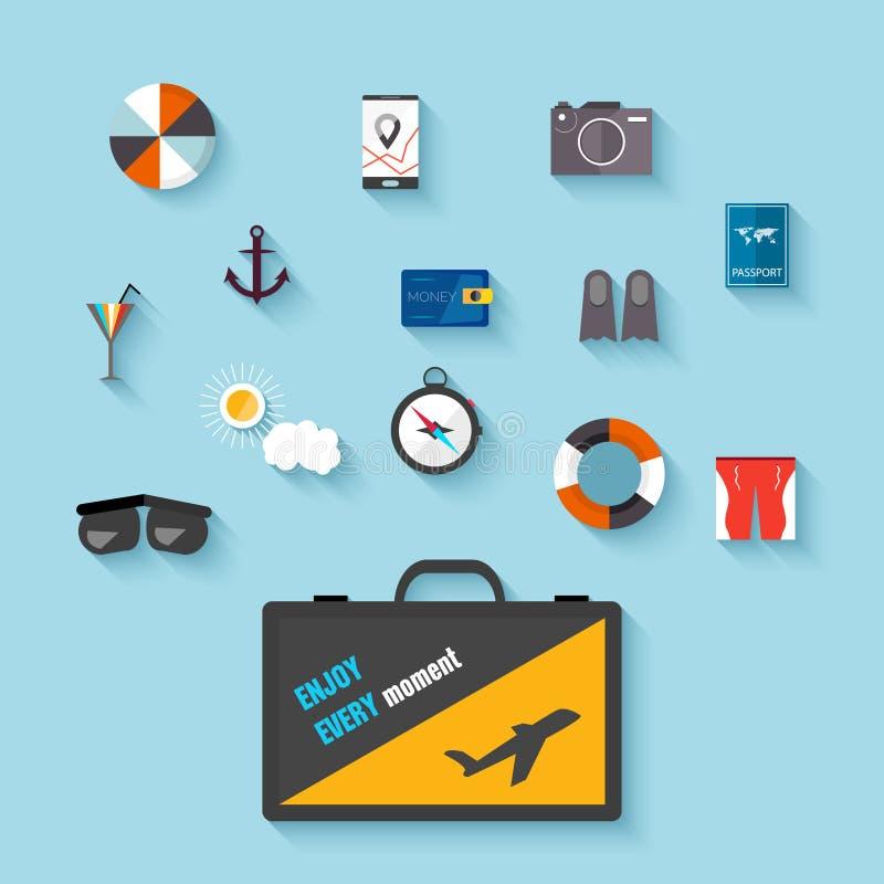 Płaskie projekt ikony Set podróżować na samolocie, planuje wakacje, turystyka, podróż protestuje, pasażerski bagaż royalty ilustracja