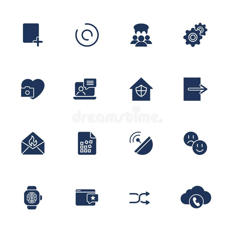 Płaskie projekt ikony ustawiają nowożytnego stylowego wektorowego ilustracyjnego pojęcie sieć rozwoju usługa, ogólnospołeczny med ilustracja wektor