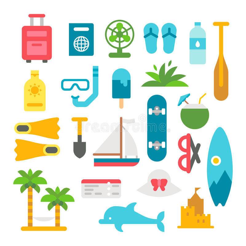 Płaskie projekt plaży rzeczy ustawiać ilustracji