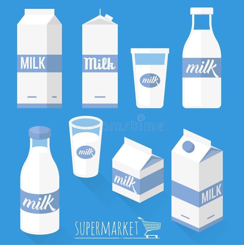 Płaskie projekta mleka ikony ilustracji