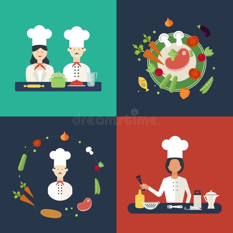 Płaskie projekta pojęcia ikony kuchenni naczynia z ilustracja wektor