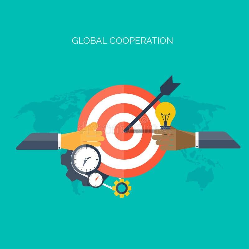 Płaskie ręki Globalny współpracy pojęcia tło Biznesowy i dochodowy Wprowadzać na rynek i zarządzanie Praca zespołowa i ilustracji