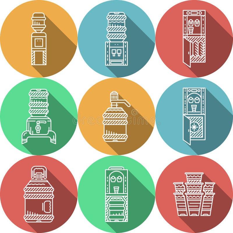 Download Płaskie Round Ikony Dla Wodnych Chłodnic Ilustracji - Ilustracja złożonej z kropla, biznes: 57658219