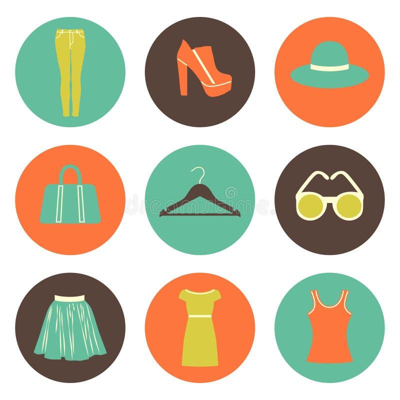 płaskie round mod ikony ustawiać dziewięć elementów ilustracja wektor