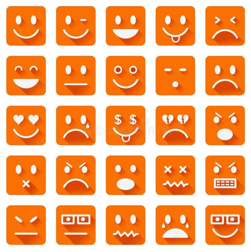 Płaskie smiley ikony ilustracji