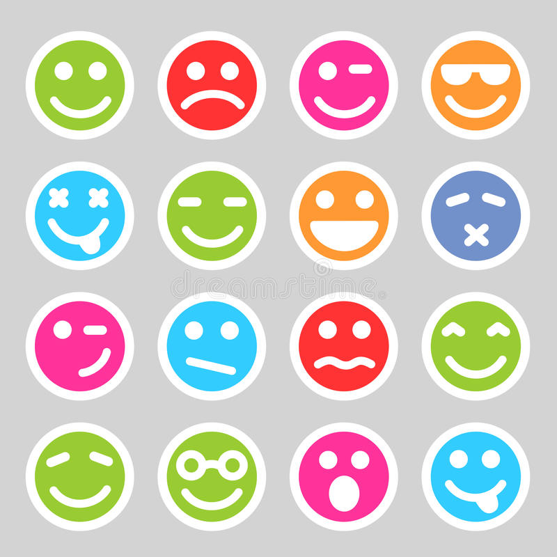 Płaskie smiley ikony ilustracja wektor