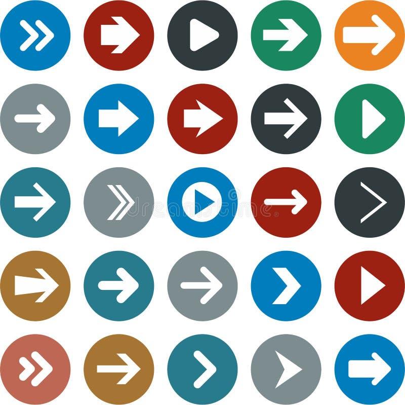 Płaskie strzałkowate ikony ilustracja wektor