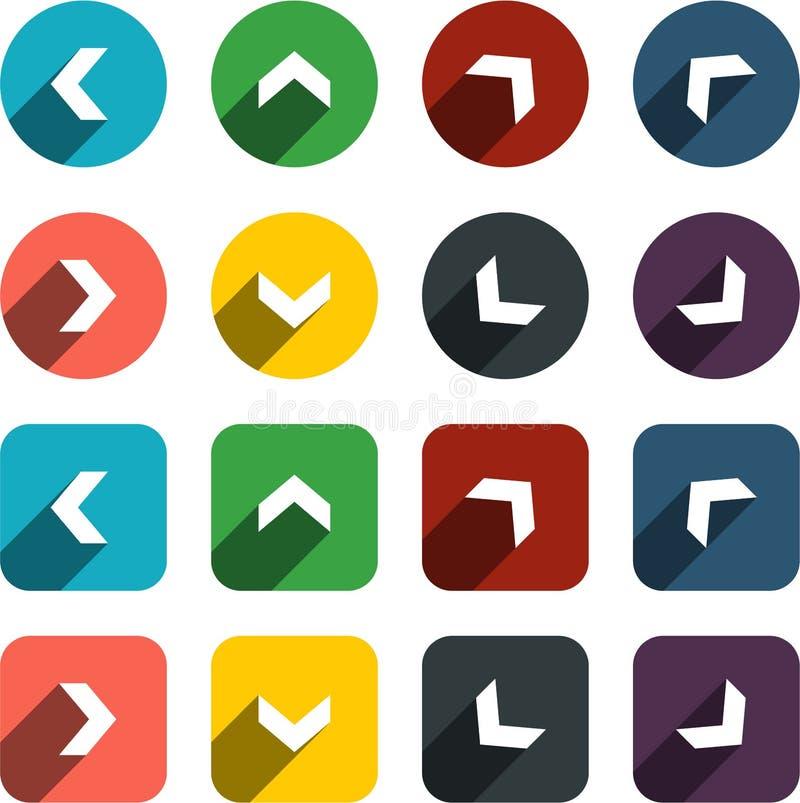 Płaskie strzałkowate ikony ilustracji