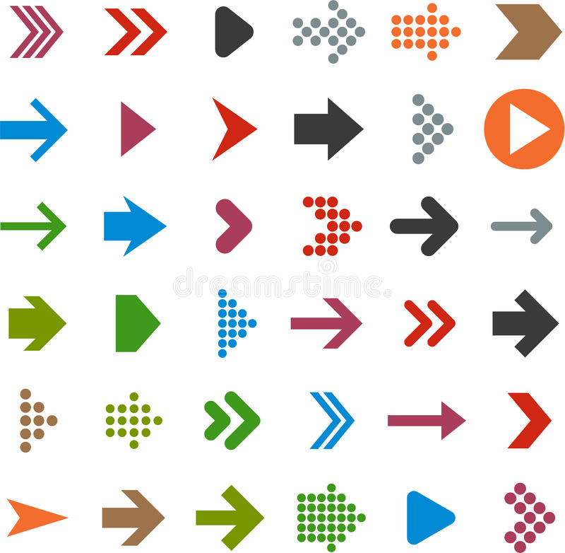 Płaskie strzałkowate ikony. ilustracji