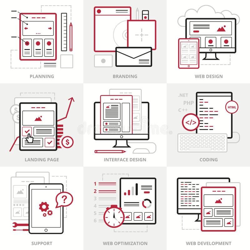 Płaskie wektorowe biznesowe ikony ustawiać Korporacyjny styl Zarysowane IT ikony dla strony internetowej