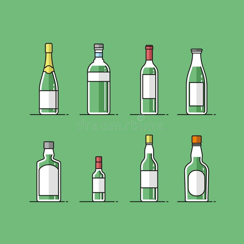 Płaskie wektorowe butelek ikony ustawiać ilustracja wektor