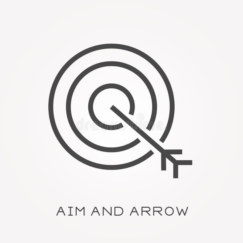 Płaskie wektorowe ikony z celem i strzała royalty ilustracja