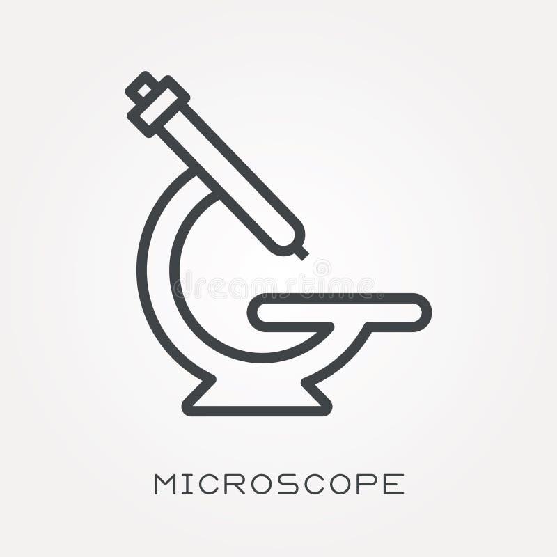 Płaskie wektorowe ikony z mikroskopem ilustracja wektor