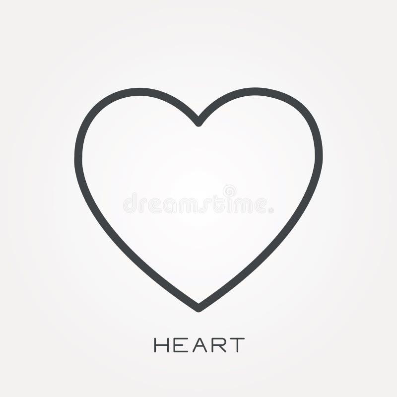 Płaskie wektorowe ikony z sercem ilustracji