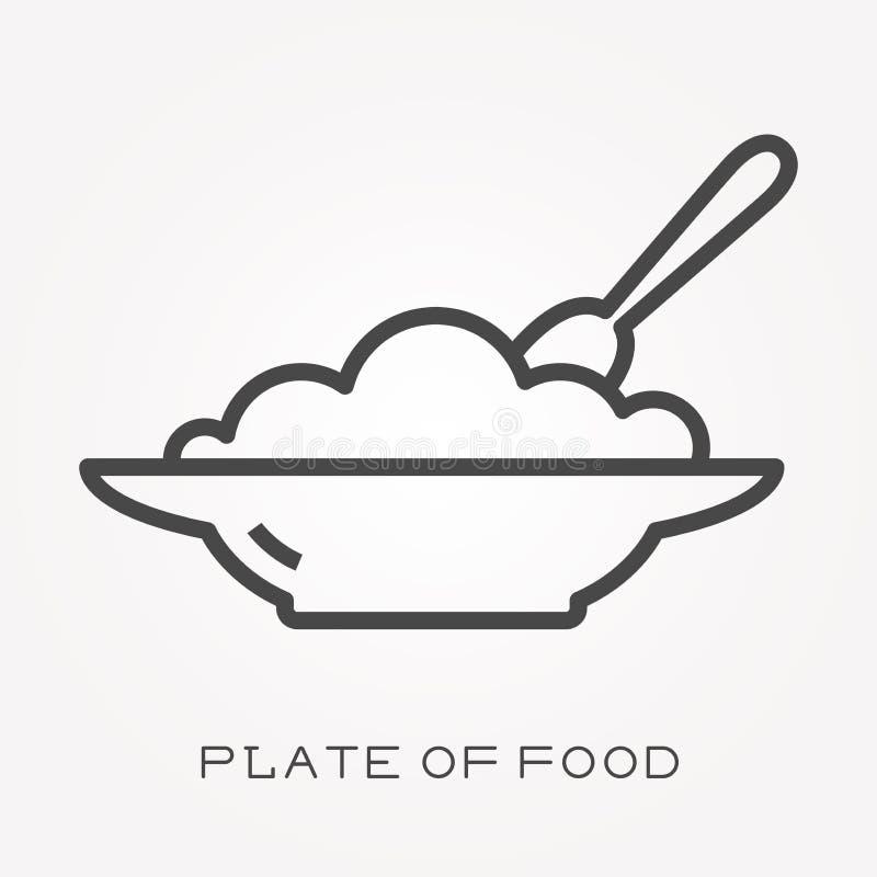 Płaskie wektorowe ikony z talerzem jedzenie royalty ilustracja