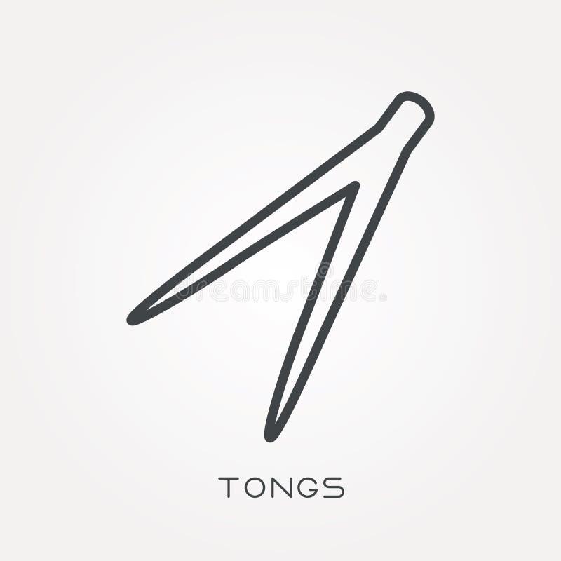 Płaskie wektorowe ikony z tongs ilustracja wektor
