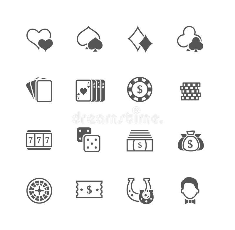 Płaskie wektorowe kasynowe ikony ustawiać ilustracji