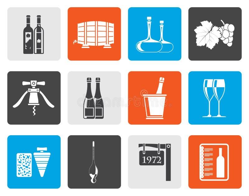Płaskie wina i napoju ikony ilustracji