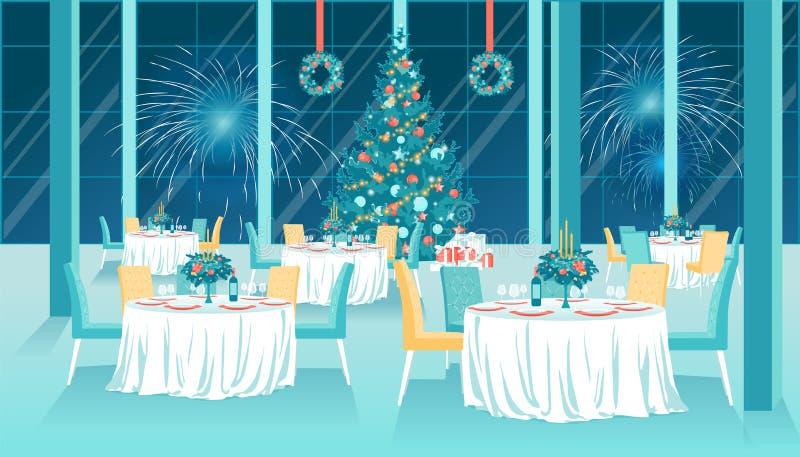 Płaskie wnętrze restauracji z Xmas New Year Decor royalty ilustracja