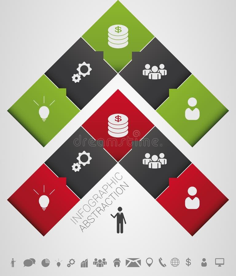 Płaskiego abstrakcjonistycznego infographics strzałkowaty biznesowy wektor z ikonami ilustracji
