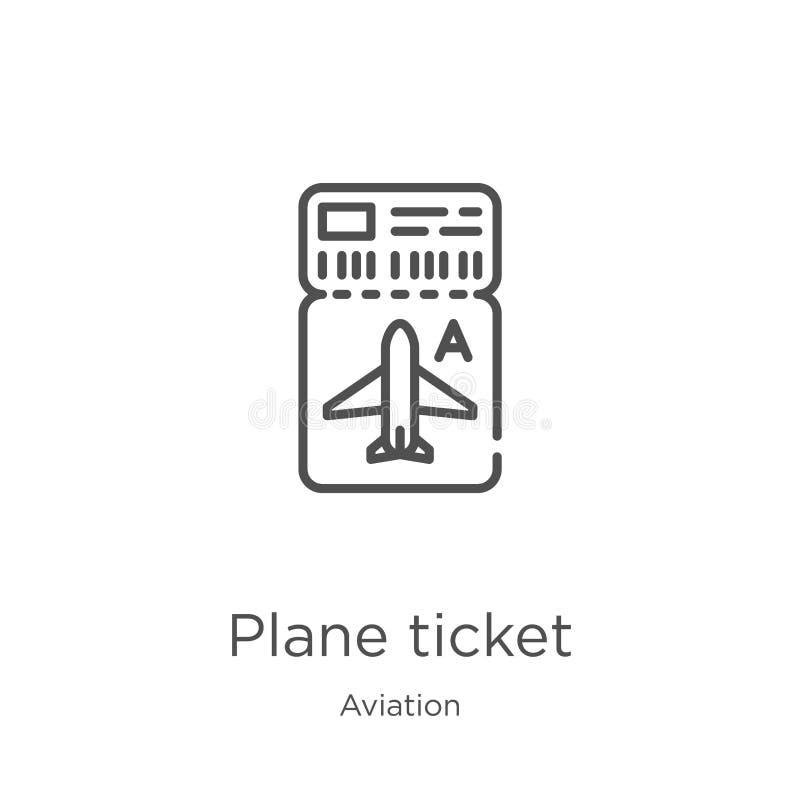 płaskiego bileta ikony wektor od lotnictwo kolekcji Cienka kreskowa płaskiego bileta konturu ikony wektoru ilustracja Kontur, cie royalty ilustracja