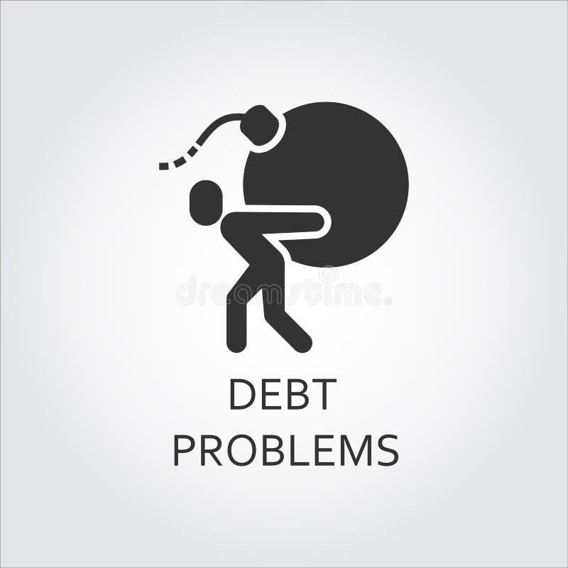 Płaskiego czerni ikony długu problemy, pożyczkowy mężczyzna niosą bombę ilustracja wektor