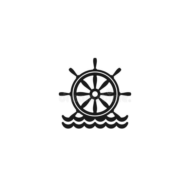 Płaskiego czerni sylwetka ster na wodzie Czarny symbol odizolowywający na białym tle royalty ilustracja