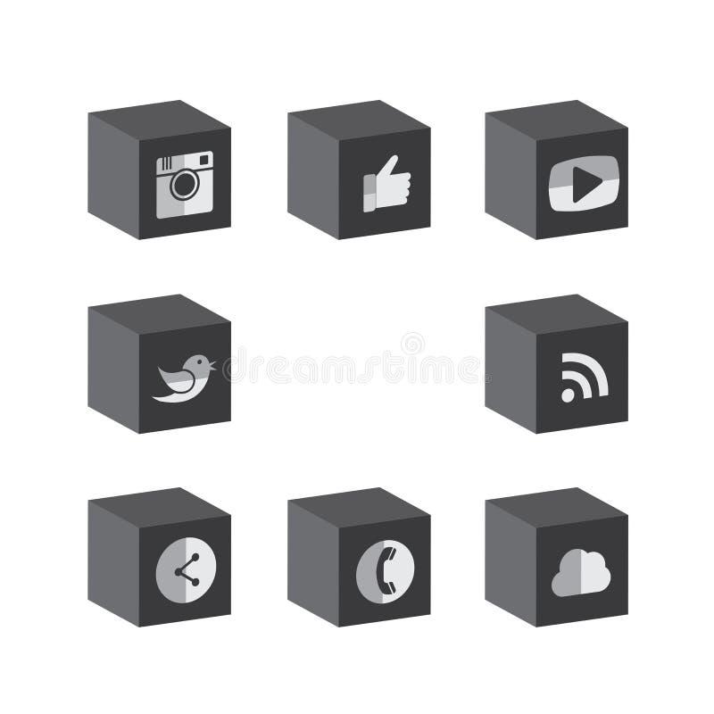 Płaskiego 3d sześcianu czarni & biali guzików projekty kamera, jak, messe obrazy stock