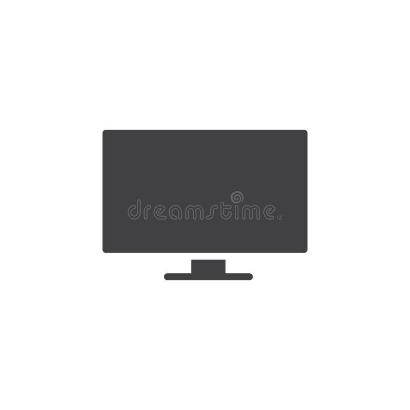 Płaskiego ekranu TV ikony wektor, wypełniający mieszkanie znak, stały piktogram odizolowywający na bielu ilustracja wektor