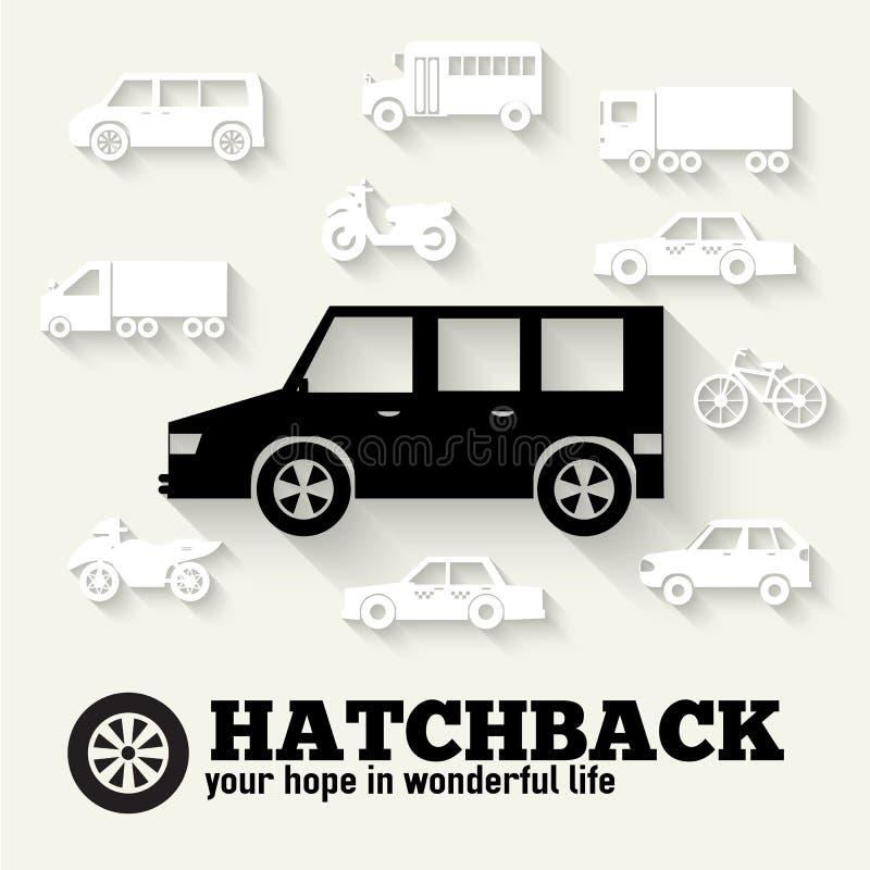 Płaskiego hatchback samochodowego pojęcia ikony ustaleni tła ilustracji