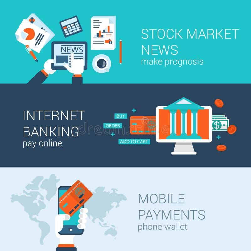 Płaskiego ikona sztandarów szablonu strony internetowej ustalony wektorowy infographics ilustracja wektor