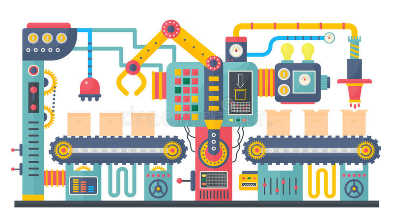 Płaskiego kolor manufaktury przemysłowego konwejeru maszynowa wektorowa ilustracja Biznesowy produktu procesu proces produkcji ilustracji