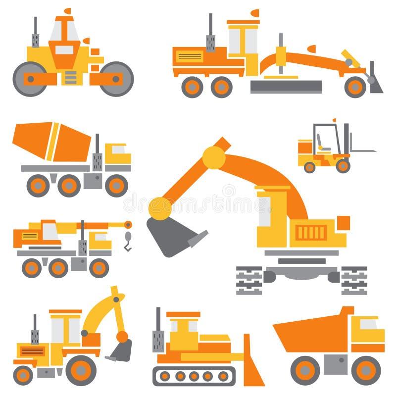 Płaskiego koloru ikony budowy wektorowa maszyneria ustawiająca z buldożerem, żuraw, ciężarówka, ekskawator, forklift, cementowy m ilustracji