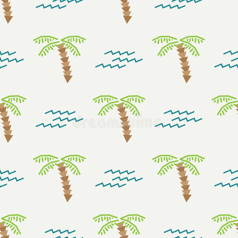 Płaskiego koloru lata wektorowy bezszwowy wzór Tkaniny lata tekstylny wzór Śliczny doodle lata wzór z drzewkiem palmowym i ilustracja wektor