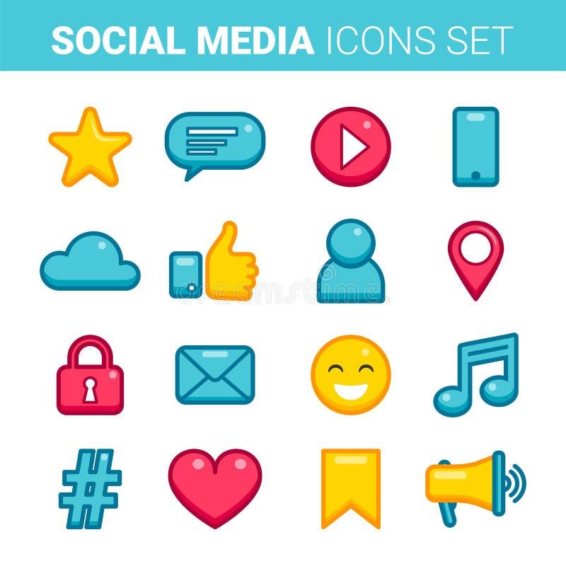 Płaskiego konturu ogólnospołeczne medialne ikony ustawiać ilustracja wektor