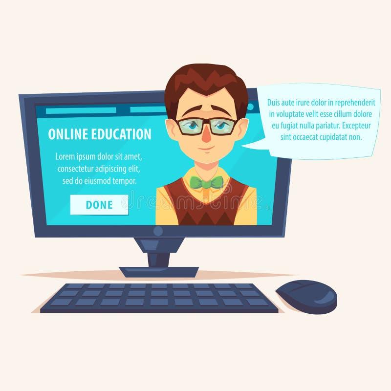 Płaskiego kreskówka ślicznego śmiesznego nauczyciela studencka fajtłapa na laptopu ekranie z gadka bąbla wektoru ilustracją Onlin ilustracji