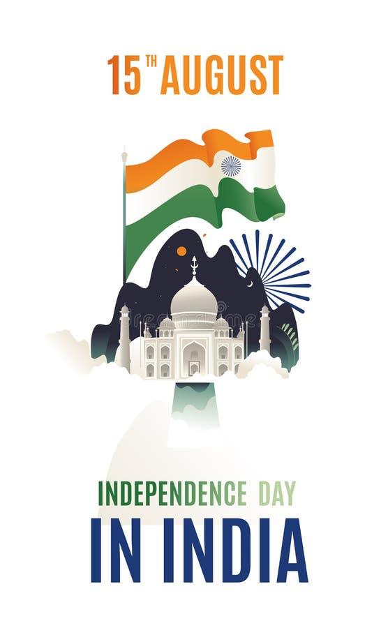 Płaskiego nowożytnego odosobnionego projekta Szczęśliwy dzień niepodległości India, Wektorowa ilustracja, ulotka projekt dla 15th obrazy stock