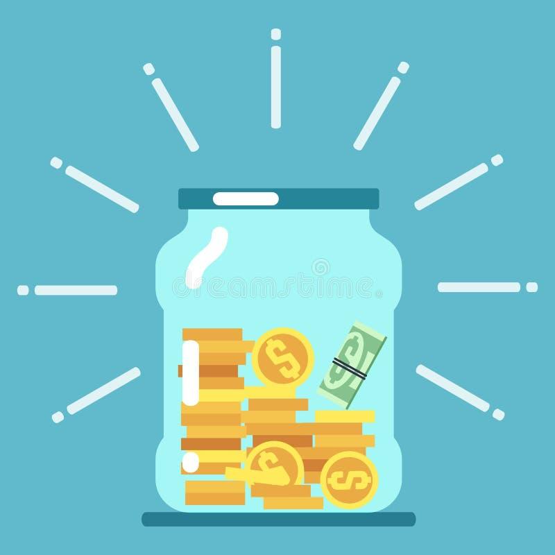 Płaskiego pieniądze słoju szklana ilustracja monet pojęcia ręk pieniądze stosu chronienia oszczędzanie ilustracji