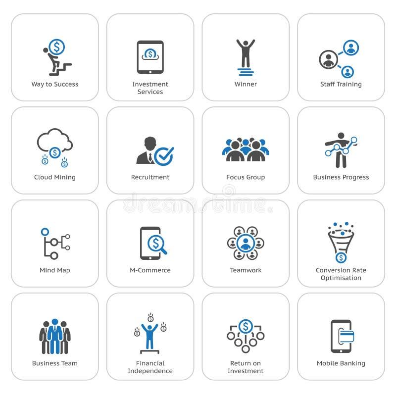 Płaskiego projekta Biznesowe ikony Ustawiać royalty ilustracja